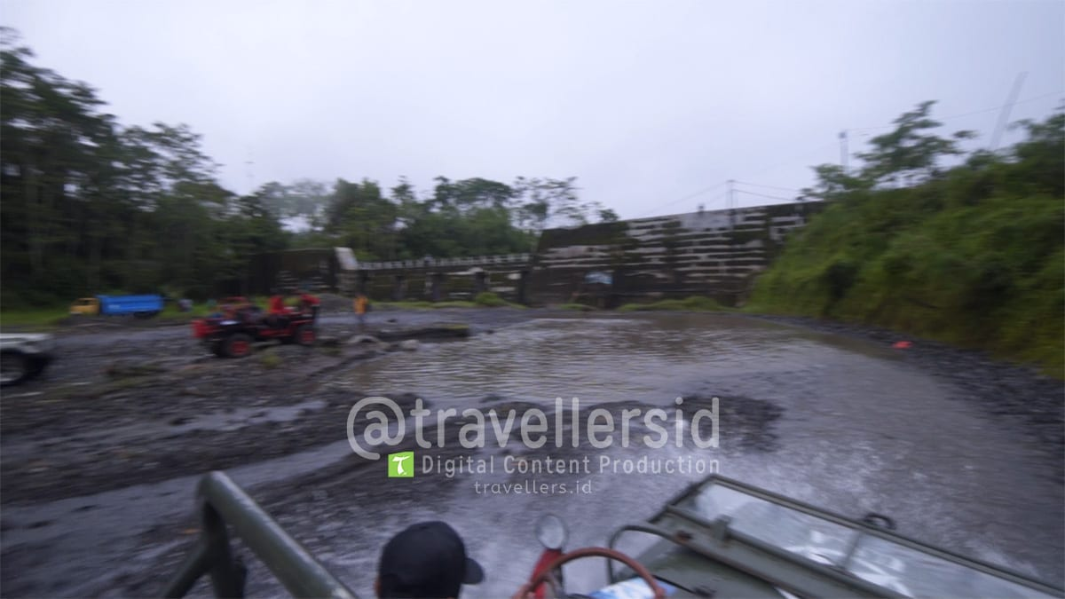 Slowmotion shot of a jeep at Kali Kuning, Merapi, Sleman, Jogja, Indonesia