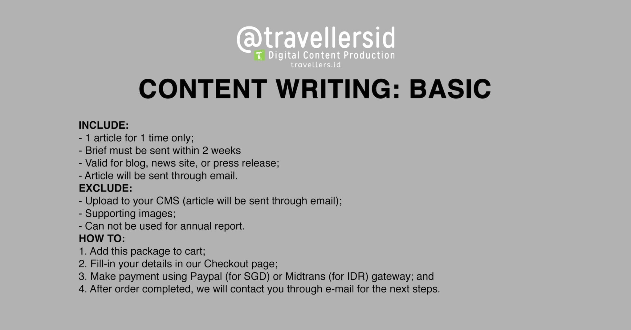 @TravellersID Content Writing Services - Basic