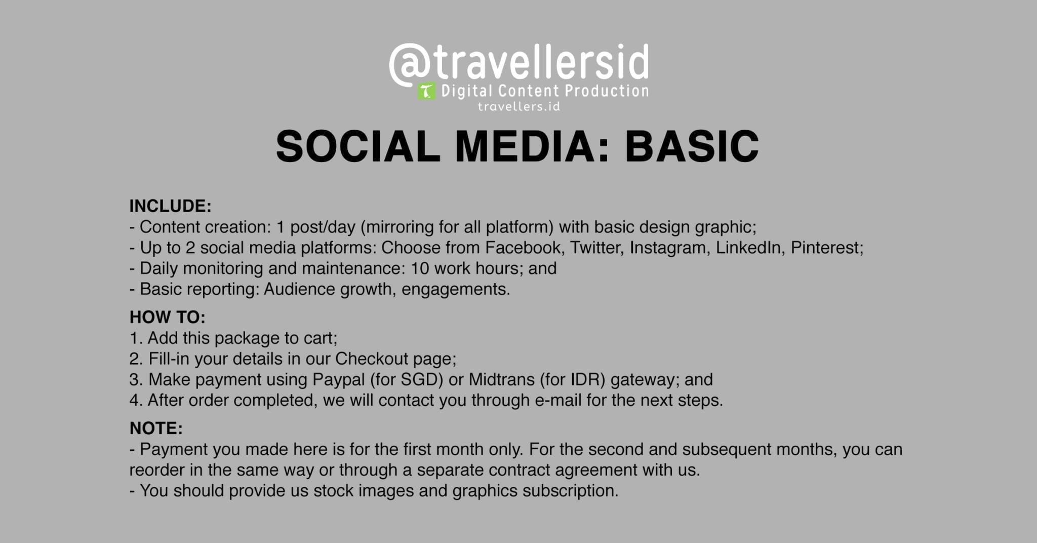 @TravellersID Social Media Services - Basic
