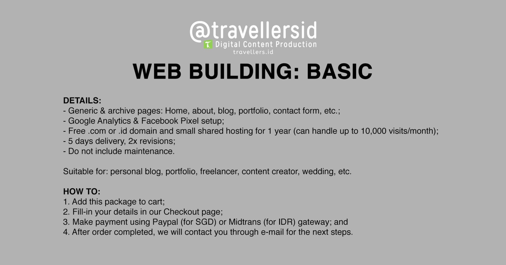 @TravellersID Web Building Services - Basic